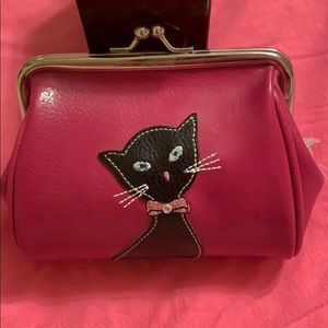 Pink Leather Cat Wallet